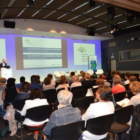 Le Dr Didier Vander Steichel, directeur général de la Fondation contre le Cancer, lors de l'introduction du colloque CSO.