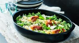 Recept Sofie Dumont: cordon bleu van zeeduivel met volkoren pasta en pesto
